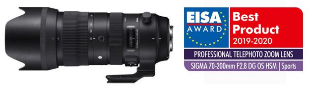 SIGMA 60-600mm F4.5-6.3 DG OS HSM | Sports and SIGMA 70-200mm F2.8 DG OS HSM | Sports have received EISA Awards 2019-2020