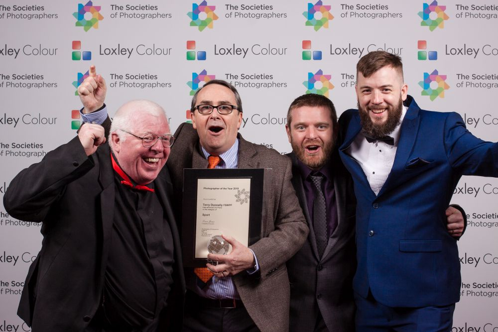 Terry Donnelly with the Sport Photographer of the Year 2019 Award.