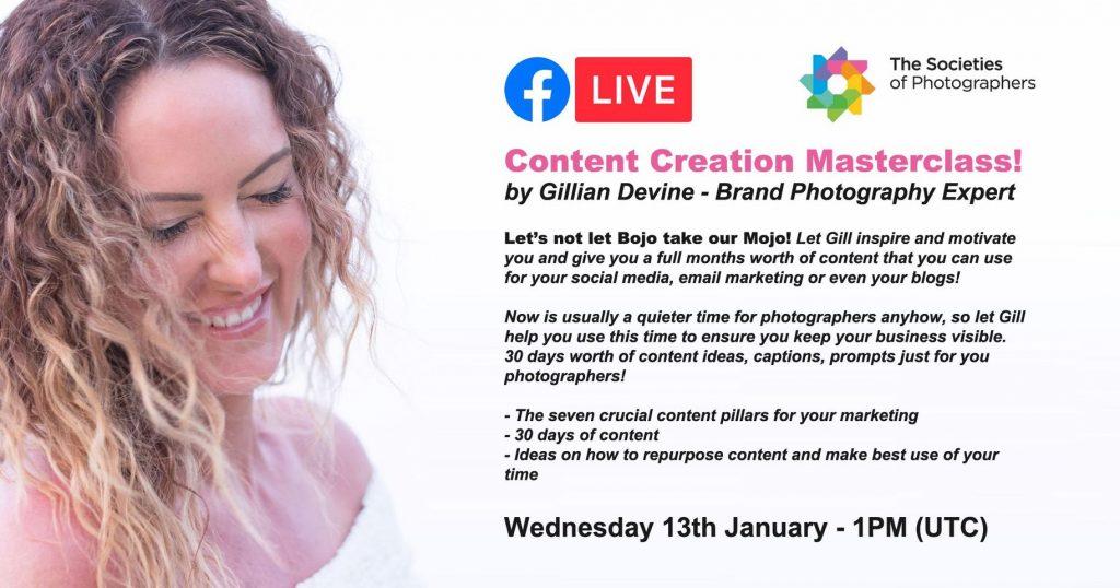 Webinar: Content Creation Masterclass! by Gillian Devine - Brand Photography Expert